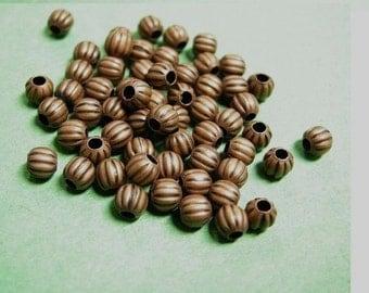 50pc antique copper 4mm pumpkin beads-2289