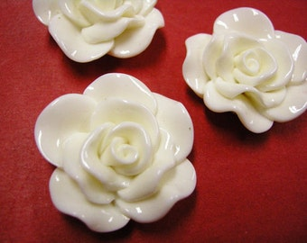 4pc 30mm White Resin Flower Cabochon-4991