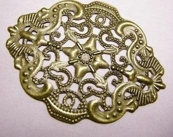 8pc antique bronze filigree wrap-4069