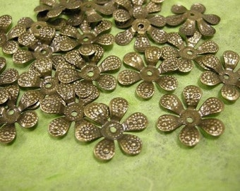 30pcs bendable antique bronze flower bead caps-570