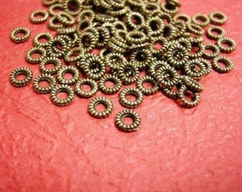 100pcs 4mm Antique Bronze Rope Metal Bead Spacer-2868