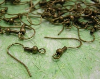 50 pieces(25 pairs) nickel free antique bronze earring hooks-3372