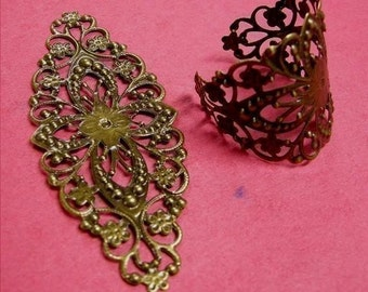 8pc large antique bronze filigree fancy wraps-1761