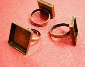 4pc antique bronze square 17mm ring shanks-595