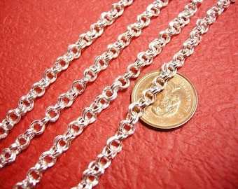 5 feet silver finish 4mm double link chain-2742