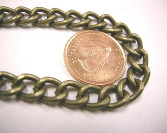 5 feet 9x7mm antique bronze heavy link Chain-3998