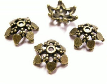 12pc antique bronze fancy 13mm metal bead cap-4081