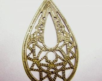 6pc antique bronze filigree drop pendant-4084