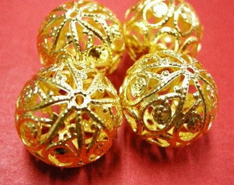4pc 20mm gold finish hollow flower bead-4832x2
