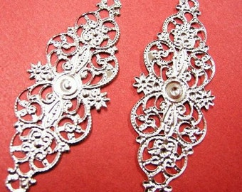 6pc platina look fancy filigree metal wraps-4608