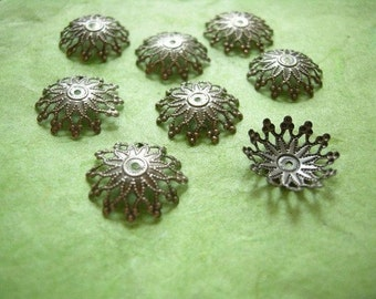 24pc 17mm antique bronze filigree bead cap-918