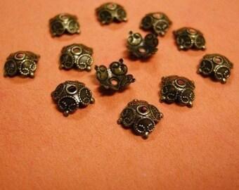 30pc 8.5mm antique bronze lead nickel free bead cap-2534