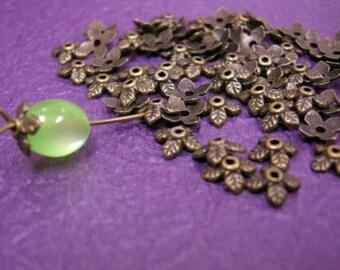 24 pc 6mm antique bronze metal bead cap-410