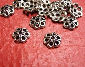 50pc 6.5mm antique silver metal bead cap-146 B