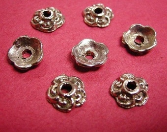 24 pc 9mm antique silver metal bead cap-2571