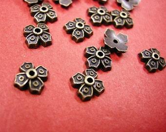 24 pc 9mm antique bronze metal bead cap-4973