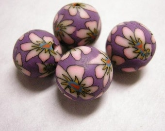 6pc handmade 14mm round fimo beads-3138