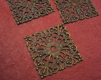 12pc antique bronze metal filigree center piece/wraps-3697