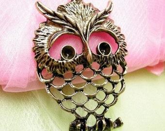 2pc antique bronze metal alloy nickel free owl pendant-3785
