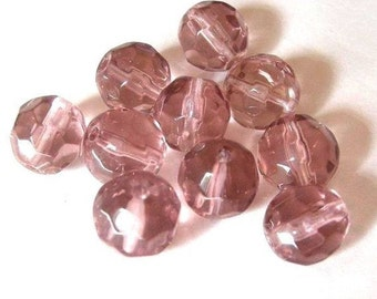 10pc 10mm faceted round crystal glass beads-770