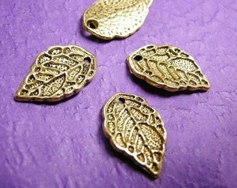 12pc antique gold finish metal leaf pendant-3035