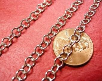 5 feet 4.8mm antique silver round link chain-3570