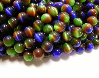 10pcs 8mm multi color cat eye glass round beads-3157