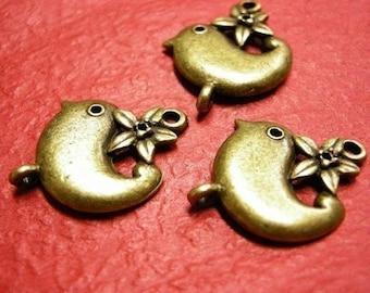 4pc antique bronze rmetal alloy bird pendant/connector-3381
