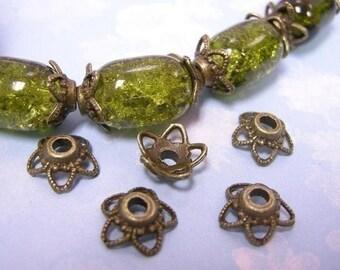 15pc antique bronze metal bead cap-1166
