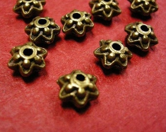 12pc 9mm antique bronze fancy beads-326B