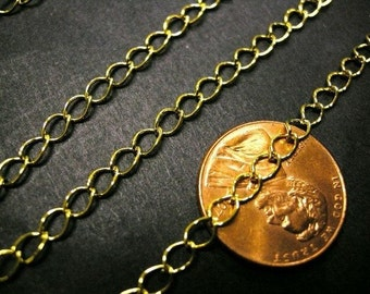 5 feet 5x3mm gold finish metal chain-3465