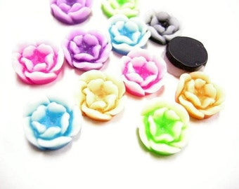 12pc mix color flower resin cabochon-337A