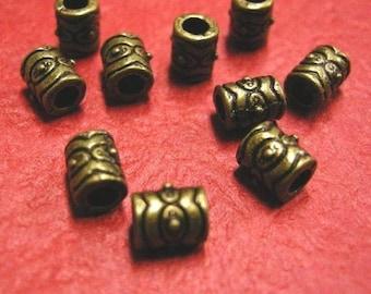 12pc 6.5mm antique bronze lead nickel free metal bead-3550