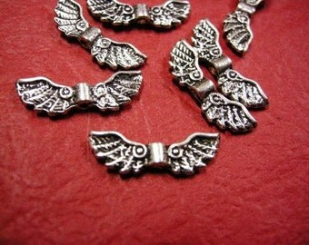 12pc antique silver metal fancy wing beads-236A
