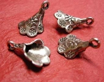 8pc antique silver flower metal alloy pendant-3354