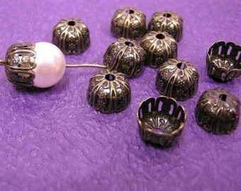 24pc 12mm antique bronze filigree bead cap-1717