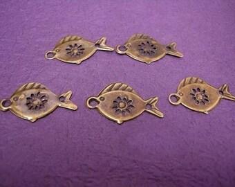 30pc 26mm antique bronze fish charm-483