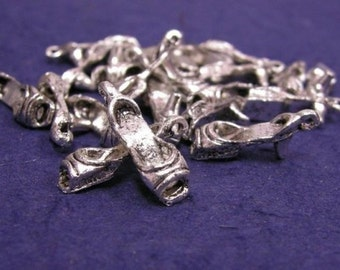 12pc antique silver finish metal lady high heel charms-524