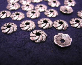 24pc 9mm antique silver metal bead cap-1169