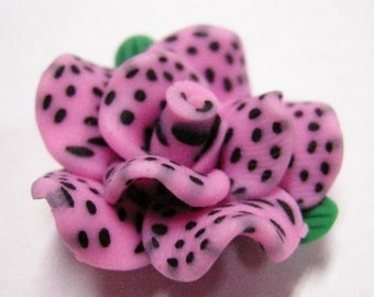 50% discount- 4pc Handmade Polymer Clay Flower Beads-4065