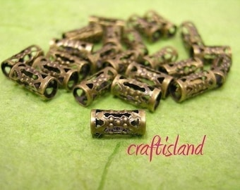 50pc 8mm antique bronze finish hollow tube metal bead-386