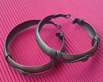 4pc 50x9mm antique bronze earring hoops-5153