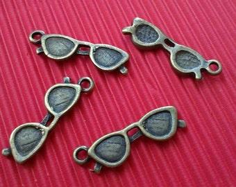 10pc 22x6mm antique bronze metal glasses pendants-5163