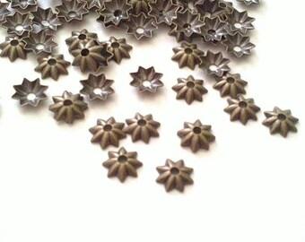 100pc 5mm antique bronze metal bead cap-5166