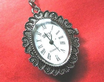 1 pc antique silver fancy victorian style watch pendant-w134