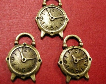 4pc antique bronze metal clock pendant-4588