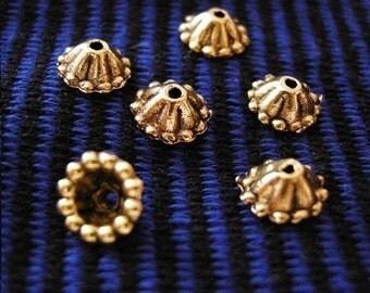24pc antique gold lead free 8mm bead cap-1919