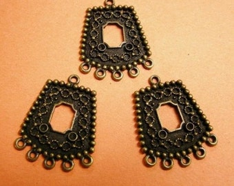 4pc antique bronze metal alloy pendant-2773