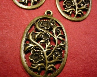 2pc antique bronze fancy metal pendant-4372