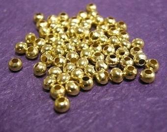 200pc 4mm gold finish metal round iron beads-1471